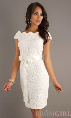 Love this elegant lace dress. The ribbon belt is just the right touch.