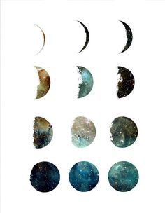 Quadros/Posters para uma Decoração Minimalista Moon Phases Art, Moon Art, Moon Moon, Blue Moon, Art Galaxie, Apartment Wall Art, Modern Art Tattoos, Art Mignon, Cactus Wall Art