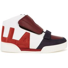 Stella McCartney Faux Leather Hi-top Trainers - Size 2 (£385) ❤ liked on Polyvore featuring shoes, sneakers, stella mccartney sneakers, rubber sole shoes, high top velcro sneakers, velcro shoes and vegan sneakers