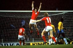 England 1 Brazil 1 in April 1978 at Wembley. Kevin Keegan equalised on 80 minutes for England in the friendly. England Kit, Kevin Keegan, England Football, Basketball Court, Football Team, Sports, Ant, Adidas, Places