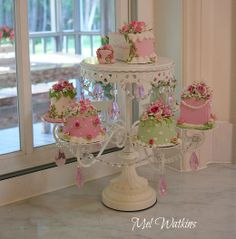 Mel's shabby chic cake stand with faux pink cakes :)