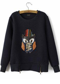 Stylish Long Sleeve Round Neck Sweats with Owl Print   Rosewe.com