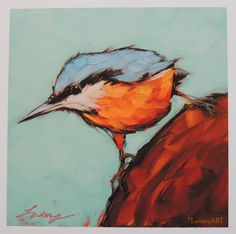 Nuthatch Print. 6x6 open edition PRINT of my original oil painting of a Red-breasted Nuthatch. Print size: 6x6 image on a 8x8 white Ultrasmooth Fine