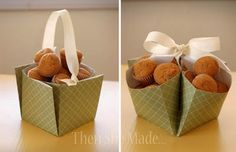 "take a 12"" square scrapbook page & turn it into a basket."
