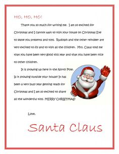 So fun! Personal message from Santa about what you want for Christmas and how you've been this year. Need to do it this year for the chicklets Free Letters From Santa, Message From Santa, Winter Christmas, All Things Christmas, Christmas Holidays, Xmas, Christmas Letters, Christmas Ideas, Christmas Baking