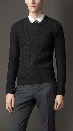 Burberry London Cashmere Wool Aran Knit Sweater