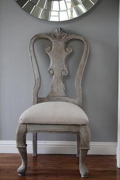thrifted chair painted with Annie Sloan Chalk Paint paris gray, old white and dark wax
