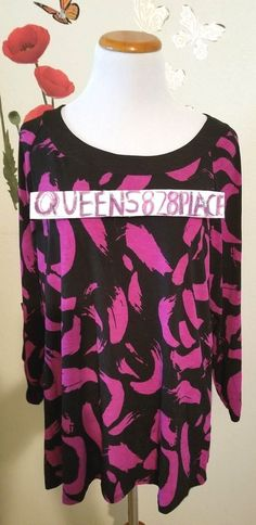 New Cato Womens Size L Large Stretch Black Pink Print Top shirt blouse 3/4 Sleev #Cato #Blouse #Casual