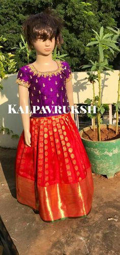 Frocks For Girls, Little Girl Dresses, Girls Dresses, Kids Dress Wear, Baby Dress, Kids Ethnic Wear, Kids Indian Wear, Frocks And Gowns, Kids Blouse Designs