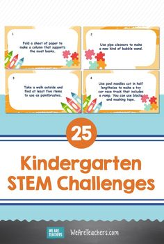 Gather up some basic supplies and get ready to watch young minds grow with these awesome kindergarten STEM challenges. Get them now! Middle School Teachers, Elementary Teacher, Kindergarten Stem, Bubble Wands, Stem Steam, Stem Challenges, Lesson Plans, Free Printables, At Least