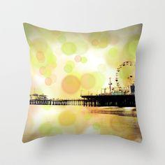 Orange Green Santa Monica Pier Bubbles Throw Pillow by Christine aka stine1 - $20.00