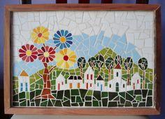 Quadro feito em Mosaico com moldura de madeira nobre de demolição