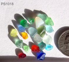 Rare and unusal sea glass colors - lime, teal, honey, red