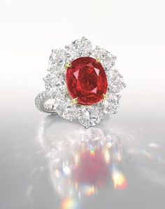 The Ratnaraj 10.05 carat Burmese pigeon blood Ruby ring, going to auction at Christies