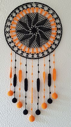 Items similar to Unique Wall Decor, Black Dream Catcher, Black Wall Hanging Decor, Black Home Decor, Black Dream Catcher/ Sandycraft on Etsy Dream Catcher Patterns, Dream Catcher Decor, Black Dream Catcher, Crochet Dreamcatcher Pattern, Crochet Mandala Pattern, Crochet Wall Art, Crochet Wall Hangings, Diy Dream Catcher Tutorial, Crochet With Cotton Yarn