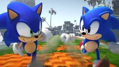 This HD wallpaper is about Anniversary Classic Modern and Classic Sonic looking at each other while running side by side. Video Games Sonic HD Art, Original wallpaper dimensions is file size is Sonic The Hedgehog, Sonic Generations, Videogames, Free Facebook Likes, Sonic Unleashed, Xbox 360 Video Games, Game Sonic, Classic Sonic, Video Game Reviews