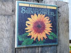 Distressed SUNFLOWER Brand Wood Wall Plaque Picture via Orphaned Treasures Etsy