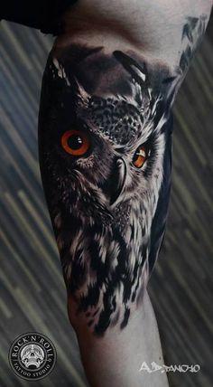 Owl half sleeve tatto