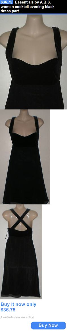 Women Fashion: Essentials By A.B.S. Women Cocktail Evening Black Dress Party Top 4 $328 BUY IT NOW ONLY: $36.75