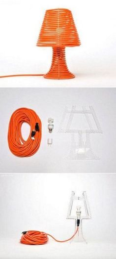 Extension cord lamp - would be great in a shop or garage especially. Make A Lamp, I Love Lamp, Cool Lamps, Unique Lamps, Objet Deco Design, Lamp Cord, Light Crafts, Do It Yourself Projects, Crazy People