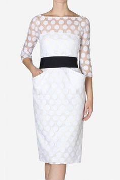 Carla Zampatti short dress with polkadot illusion sleeves.