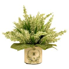 Craft a country-chic vignette or a natural centerpiece with this classic heather arrangement, nestled in a bee-adorned vase.  Produc...