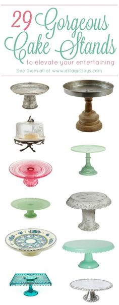 If you like to throw parties, you need a few cake stands in your china cabinet. They're a great way to add height to your buffet or serving table, and you can also use them for decorating. This is a great collection of glass cake stands, ceramic cake stands, wooden cake stands, galvanized cake stands and more to fit any budget.