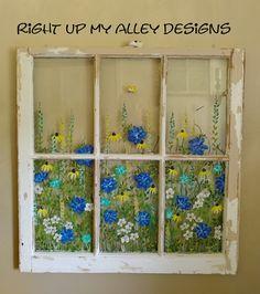 Old Windows Painted, Painted Window Panes, Window Pane Art, Painting On Glass Windows, Vintage Windows, Window Frames, Vintage Doors, Antique Doors, Old Window Screens