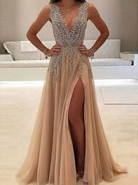 A-line V-neck Nude tulle Skirt with Slit Sexy Shinny Long Prom Dresses apd2079