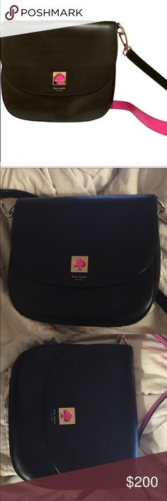 "Kate Spade hot pink and black satchel New without tags Kate Spade NWOT Kate Spade black with hot pink on inner strap and spade logo. ""Large Tate"" kate spade Bags Crossbody Bags magnetic closer. kate spade Bags Crossbody Bags"