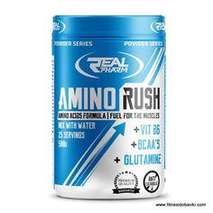 Купи Real Pharm Amino Rushна ниска цена от fitnesidobavki.com. Amino Rush доставя на организма най-високата доза фармацевтично чисти аминокиселини.
