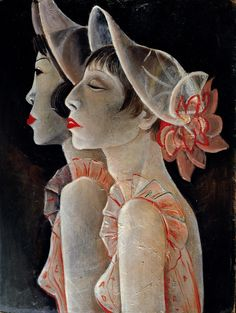 amare-habeo:Jeanne Mammen (1890-1976) - Revue Girls, 1928-1929 Oil on paper Berlinische Galerie, Berlin, Germany