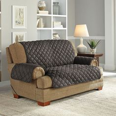 serta ultra suede waterproof loveseat slipcover brown