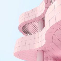 Instagram pink inspiration Candy Minimal pastel pink building.
