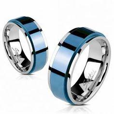 Men/'s Wedding Band Silicone Anneau Caoutchouc Bleu Durable souple stries 8 mm