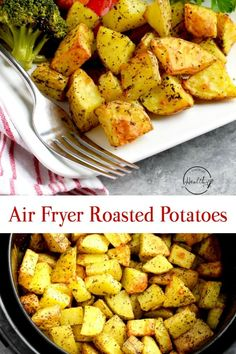 Air fryer roasted potatoes with garlic and herbs are cooked to golden, crispy perfection. They are the perfect side dish for breakfast, lunch or dinner. Air Fryer Roasted Potatoes (with garlic and herbs) A Pinch of Heal Air Fryer Oven Recipes, Air Fry Recipes, Potato Recipes, Cooking Recipes, Healthy Recipes, Air Fryer Recipes Potatoes, Air Fryer Recipes Vegetables, Easy Cooking, Healthy Desserts
