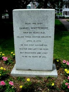 "Tough old Revolutionary War patriot; date is Battle of Lexington and Concord -- The day ""the embattled farmers stood and fired the shot heard round the world."""