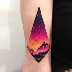 Mountain View and Night Sky Inside Diamond Shape by dariastahp Daria Stahp is a Polish tattoo artist that creates gorgeous double exposure tattoos full of color. Her tattoo designs often combine colorful sceneries frame Sternum Tatoo, Tattoo Motive, Unique Tattoos, Beautiful Tattoos, Small Tattoos, Colorful Tattoos, Geometric Tattoos, Geometric Tattoo Color, Geometric Mountain Tattoo