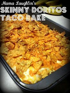 Skinny Doritos Taco Bake - Looks Good! With 60 crushed Doritos on top it's worth 7 points. With the serving size being That's a big piece!View Recipe More Recipes Skinny Recipes, Ww Recipes, Mexican Food Recipes, Great Recipes, Cooking Recipes, Favorite Recipes, Healthy Recipes, Mexican Dinners, Skinny Meals