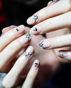 Black, white and nude geometric nails #nails