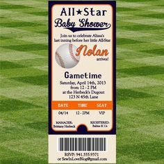Check out our baseball baby shower invitations selection for the very best in unique or custom, handmade pieces from our shops. Star Baby Showers, Baby Shower Parties, Baby Shower Themes, Baby Boy Shower, Shower Ideas, Party Tickets, Baby Shower Invitaciones, Shower Invitation, Invitations
