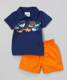 Look at this #zulilyfind! Navy Sharky Polo & Orange Twill Shorts - Infant by Duck Duck Goose #zulilyfinds