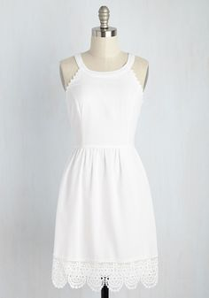 Share and Share Alight Dress. Stepping this LWD into any event feels as dreamy as descending from a cloud. #white #modcloth