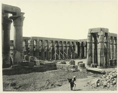 Rare Photos of Egypt from the 1870s. Luxor: Temple and Columns. Photograph via The New York Public Library Digital Gallery