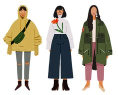 "mariahmakes: ""I don't get to draw enough fashionable people! Here are some fall looks i've put together. I'm so happy that wearing baggy clothes is trendy now because I can easily find them in the..."
