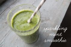 Sparkling Mint Green Smoothie  Yields 2 full glasses.   2 Tbsp Chia seeds 2-4 Tbsp raw agave nectar  1/4 cup almond milk 1 cup sparkling mineral water, such as San Pellegrino 3-4 handfuls of spinach leaves 12 mint leaves 1/2 cup frozen pineapple 1 ripe banana  Combine all ingredients in blender and mix on high till smooth and frothy.