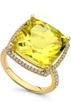Kiki McDonough Grace Lemon Quartz & Diamond 18k Gold Ring