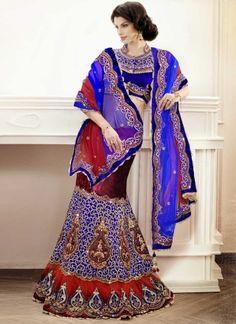 Blooming Blue With Wine Fancy Designer Bridal Lehenga Choli