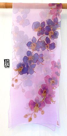 Large Silk Scarf Hand Painted Chiffon Scarf by SilkScarvesTakuyo More