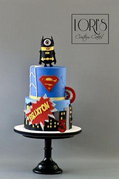 Superhero birthday by Lori Mahoney (Lori's Custom Cakes)